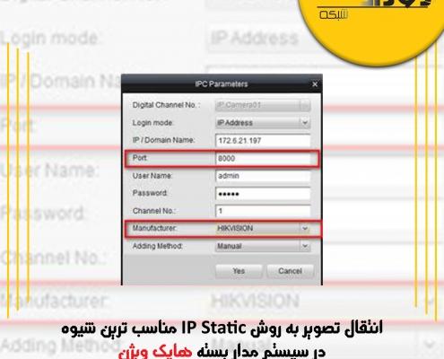 انتقال تصویر به روش IP Static مناسب ترین شیوه در سیستم مدار بسته هایک ویژن